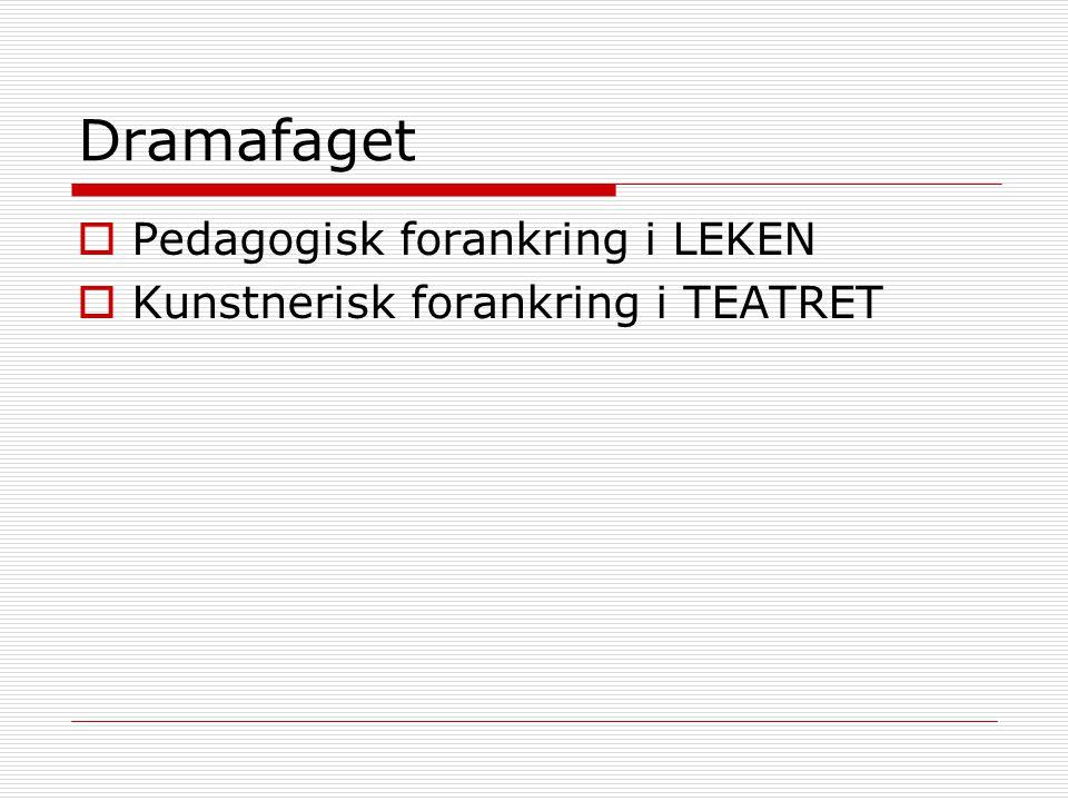 Dramafaget Pedagogisk forankring i LEKEN