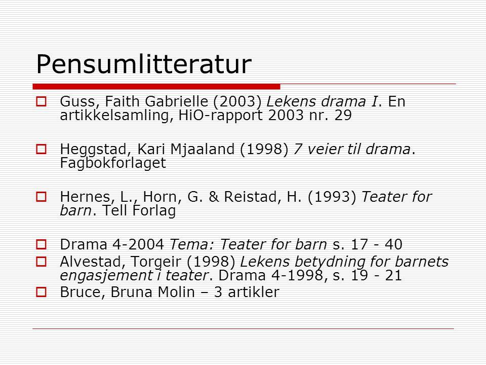 Pensumlitteratur Guss, Faith Gabrielle (2003) Lekens drama I. En artikkelsamling, HiO-rapport 2003 nr. 29.