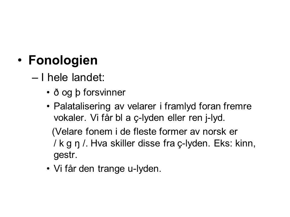 Fonologien I hele landet: ð og þ forsvinner