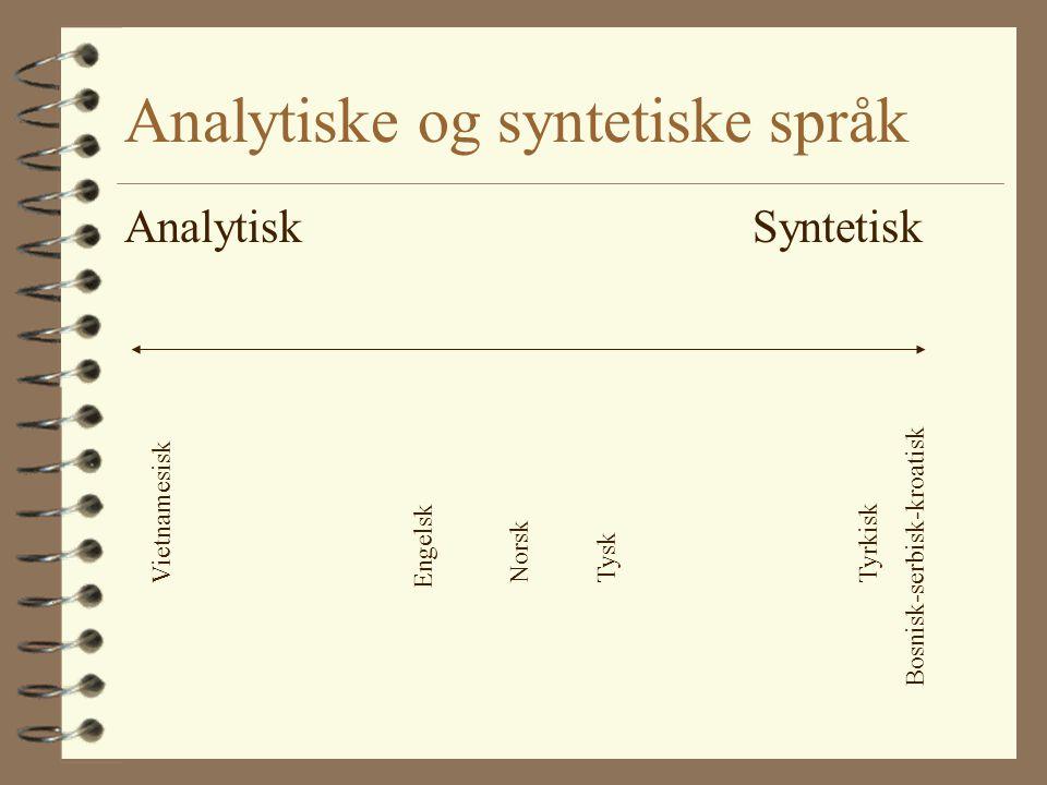 Analytiske og syntetiske språk