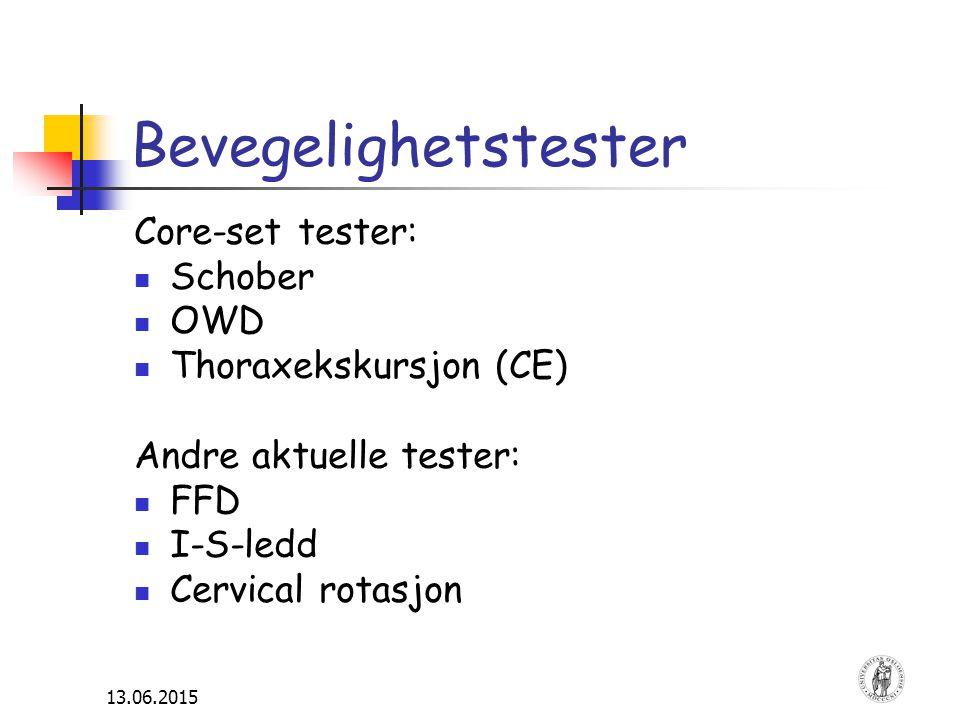Bevegelighetstester Core-set tester: Schober OWD Thoraxekskursjon (CE)