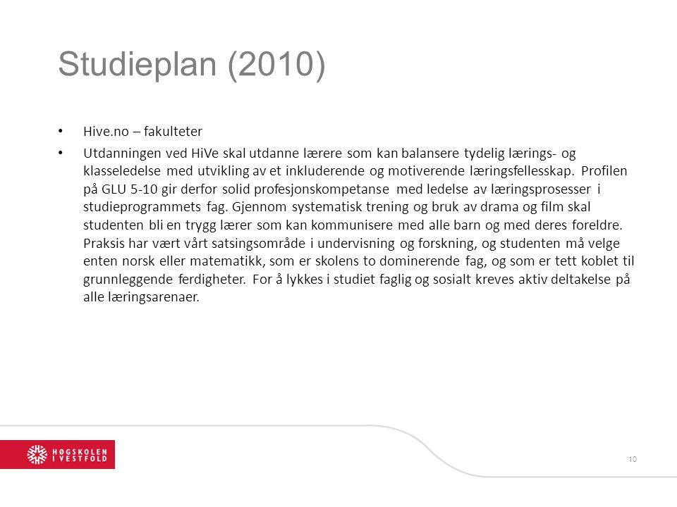 Studieplan (2010) Hive.no – fakulteter