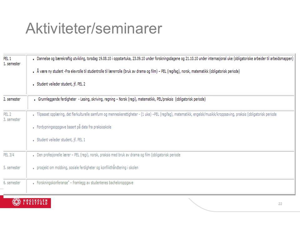 Aktiviteter/seminarer