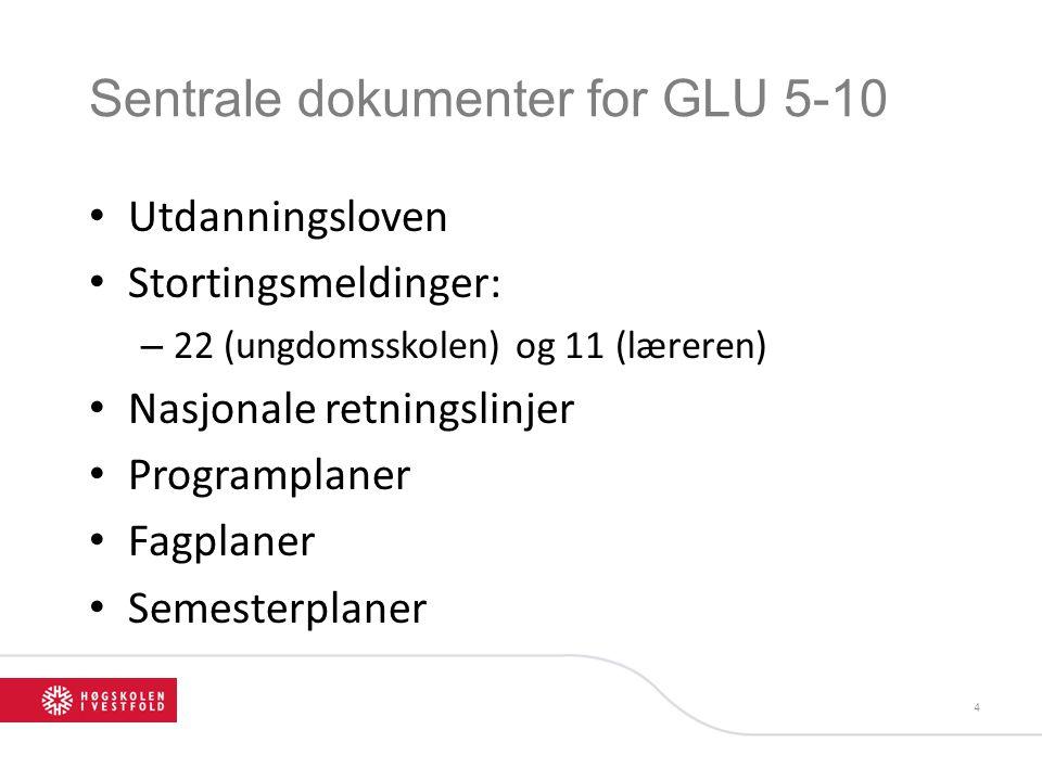 Sentrale dokumenter for GLU 5-10