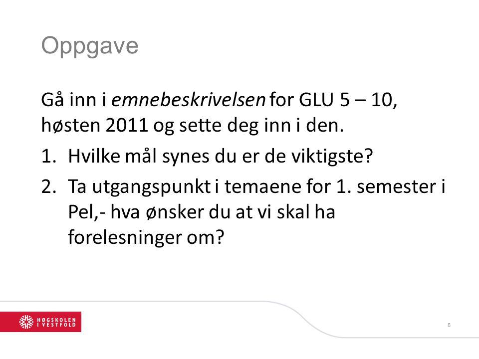 Oppgave Gå inn i emnebeskrivelsen for GLU 5 – 10, høsten 2011 og sette deg inn i den. Hvilke mål synes du er de viktigste