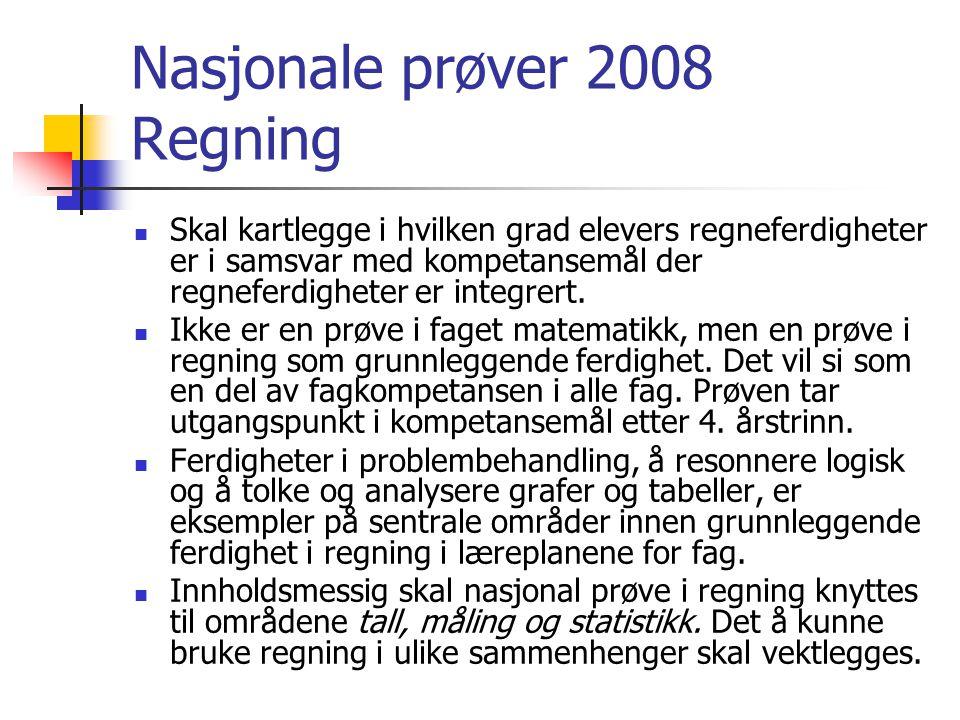 Nasjonale prøver 2008 Regning