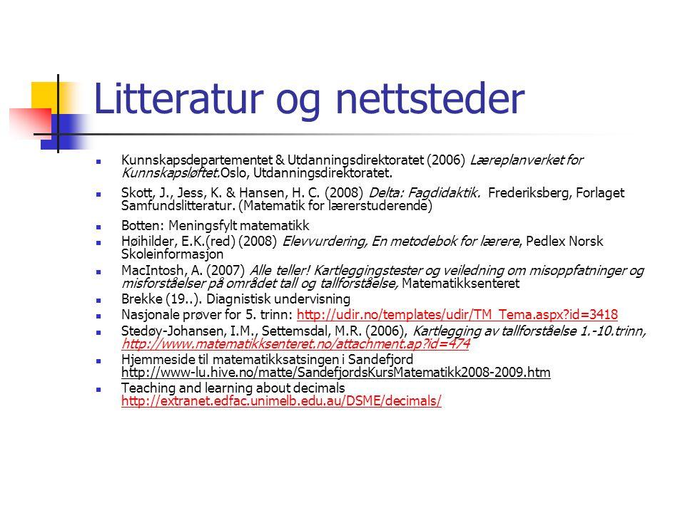 Litteratur og nettsteder