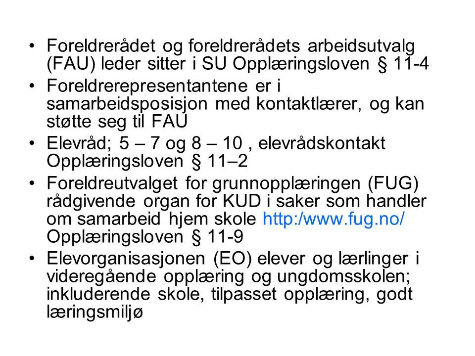 Foreldrerådet og foreldrerådets arbeidsutvalg (FAU) leder sitter i SU Opplæringsloven § 11-4