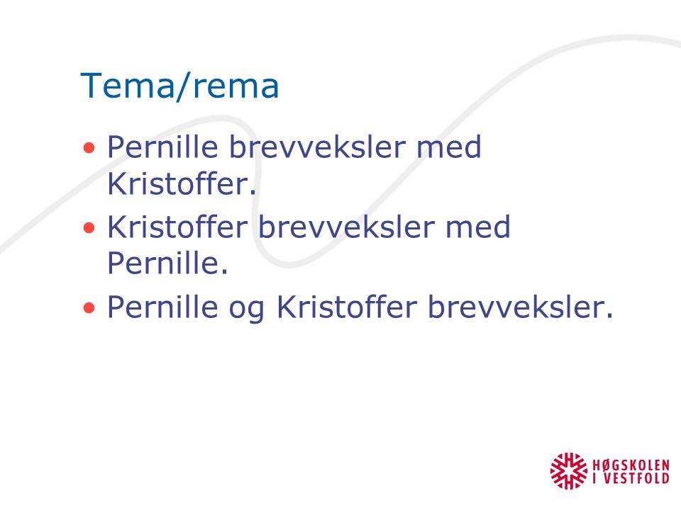 Tema/rema Pernille brevveksler med Kristoffer.