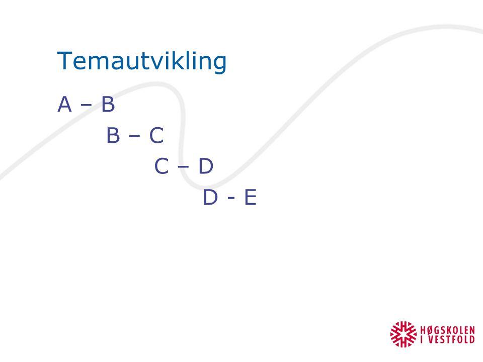 Temautvikling A – B B – C C – D D - E