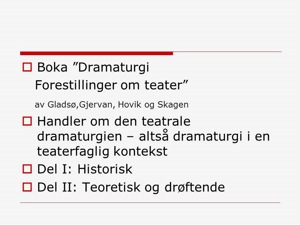 Boka Dramaturgi Forestillinger om teater av Gladsø,Gjervan, Hovik og Skagen.
