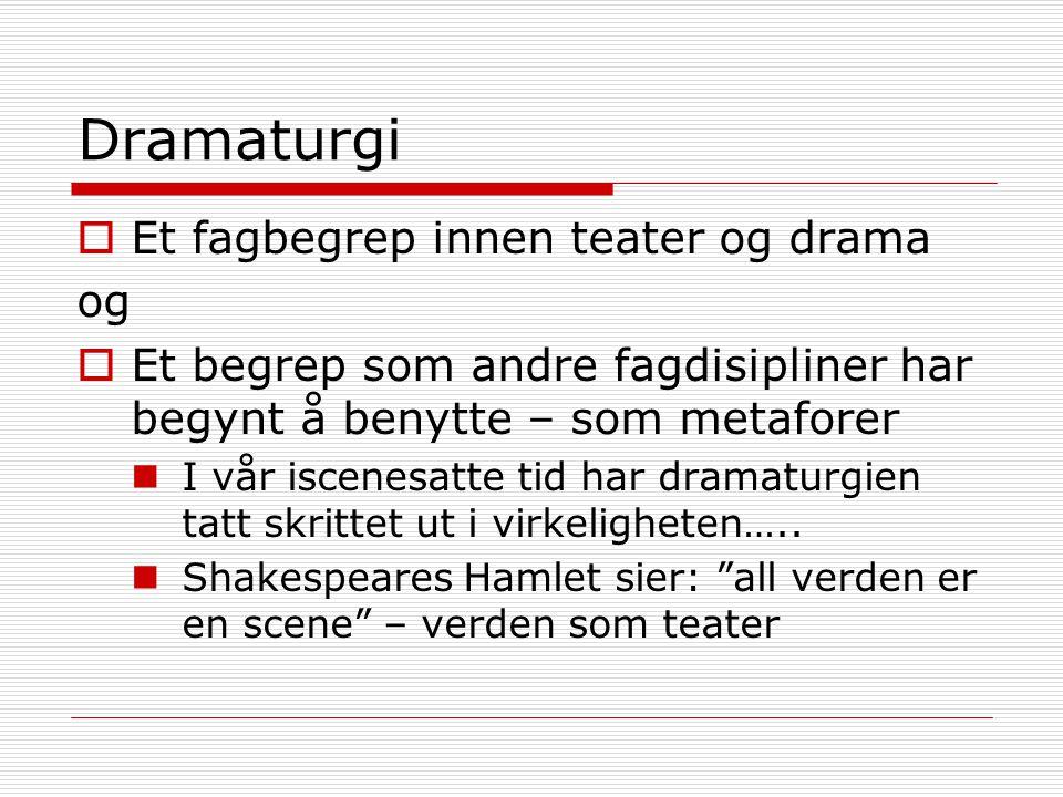 Dramaturgi Et fagbegrep innen teater og drama og