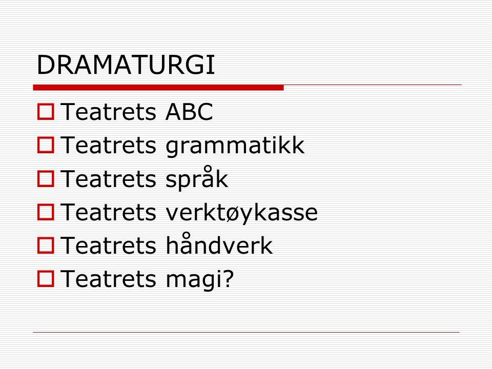 DRAMATURGI Teatrets ABC Teatrets grammatikk Teatrets språk