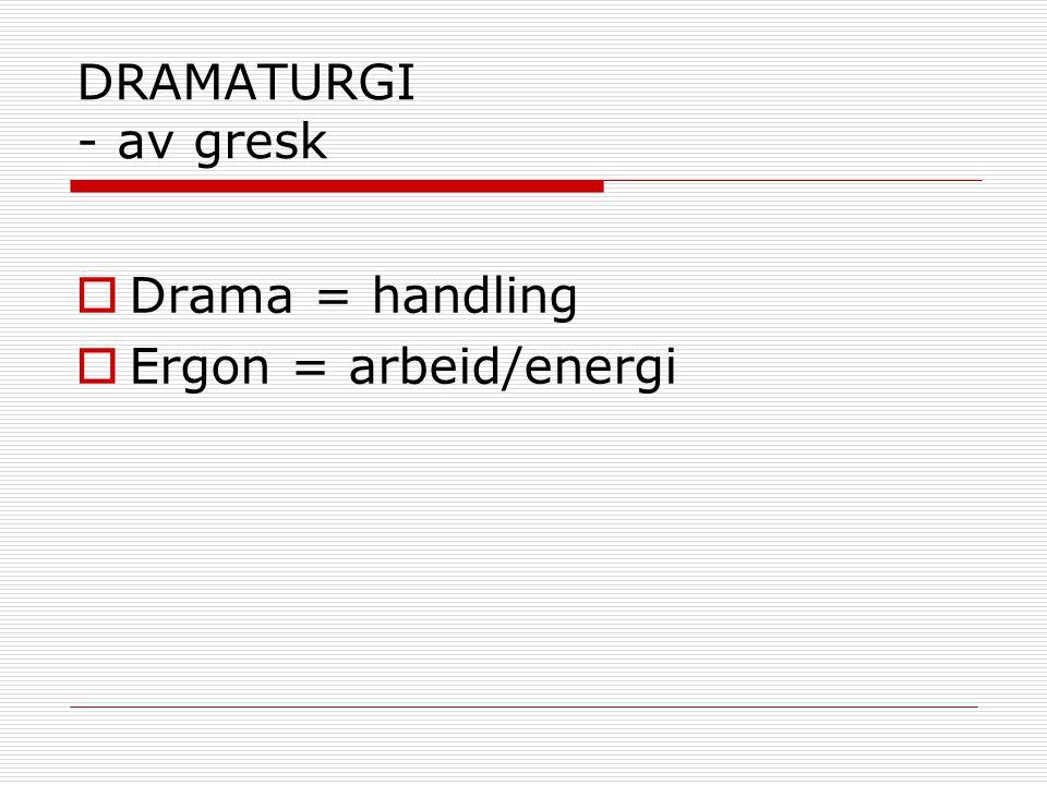 DRAMATURGI - av gresk Drama = handling Ergon = arbeid/energi