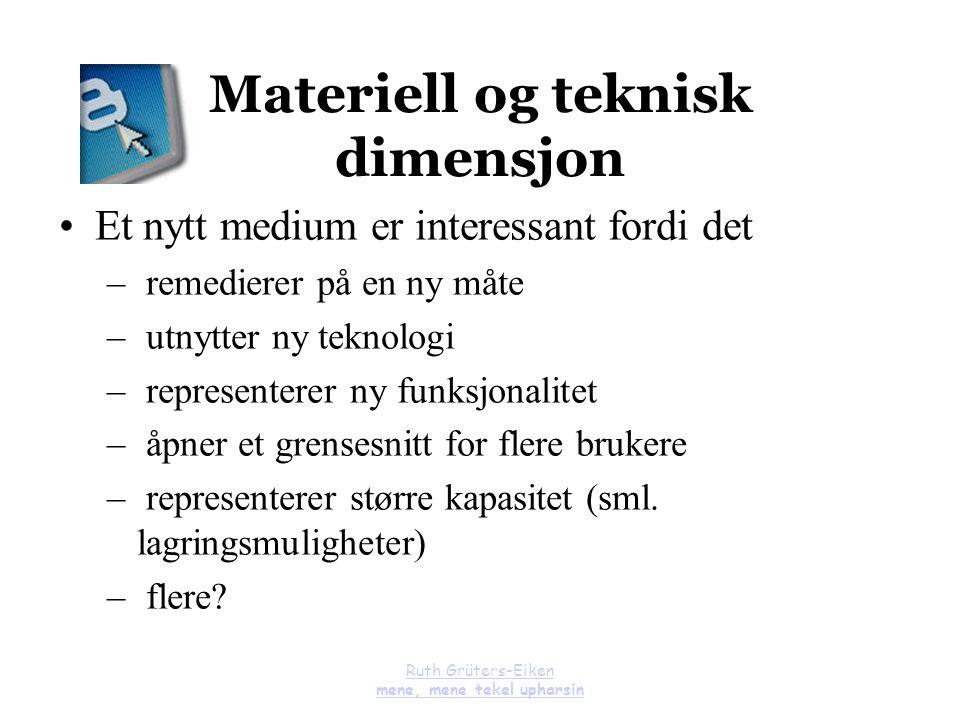 Materiell og teknisk dimensjon