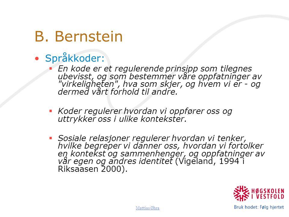 B. Bernstein Språkkoder: