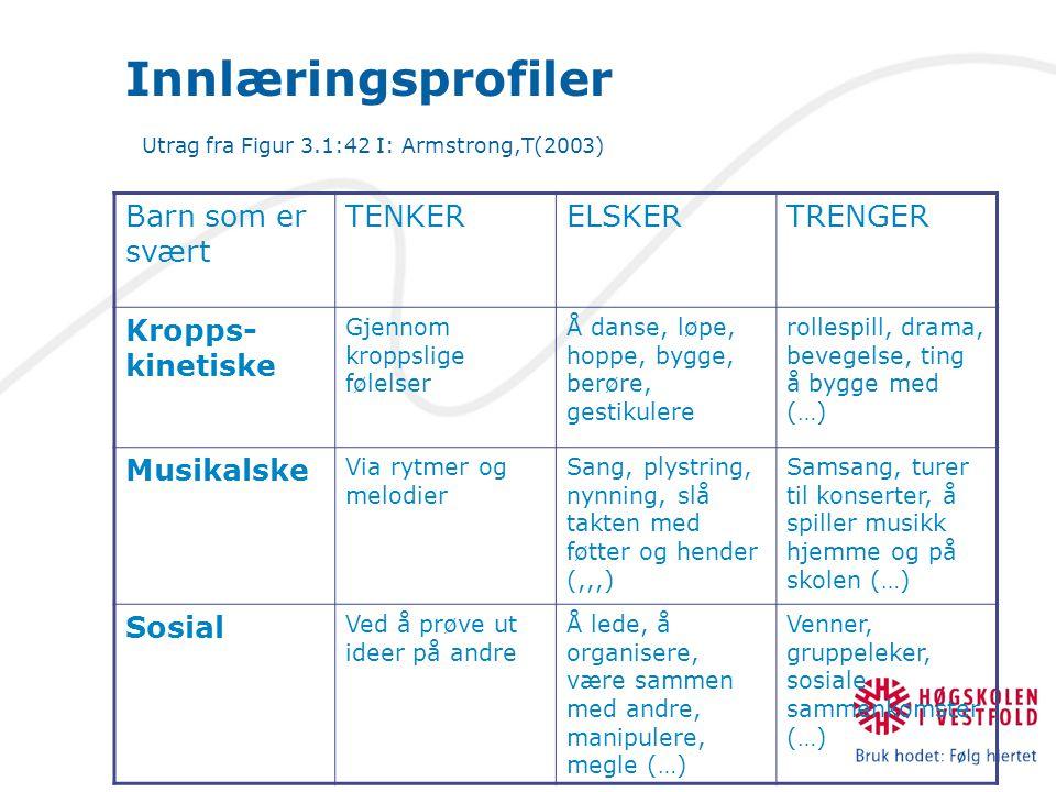 Innlæringsprofiler Utrag fra Figur 3.1:42 I: Armstrong,T(2003)