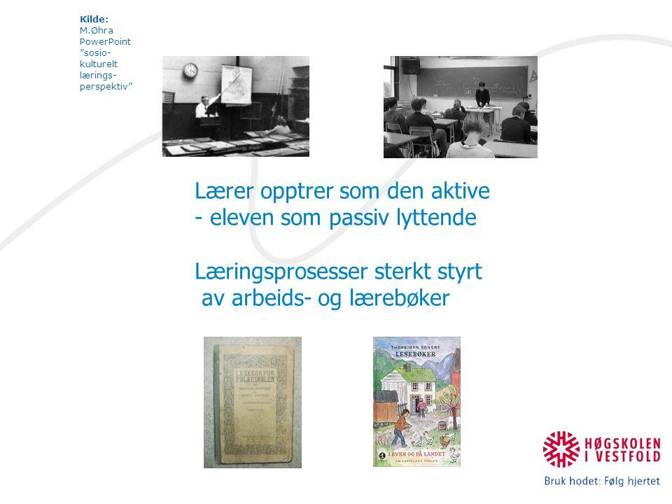 Kilde: M.Øhra PowerPoint sosio- kulturelt lærings- perspektiv