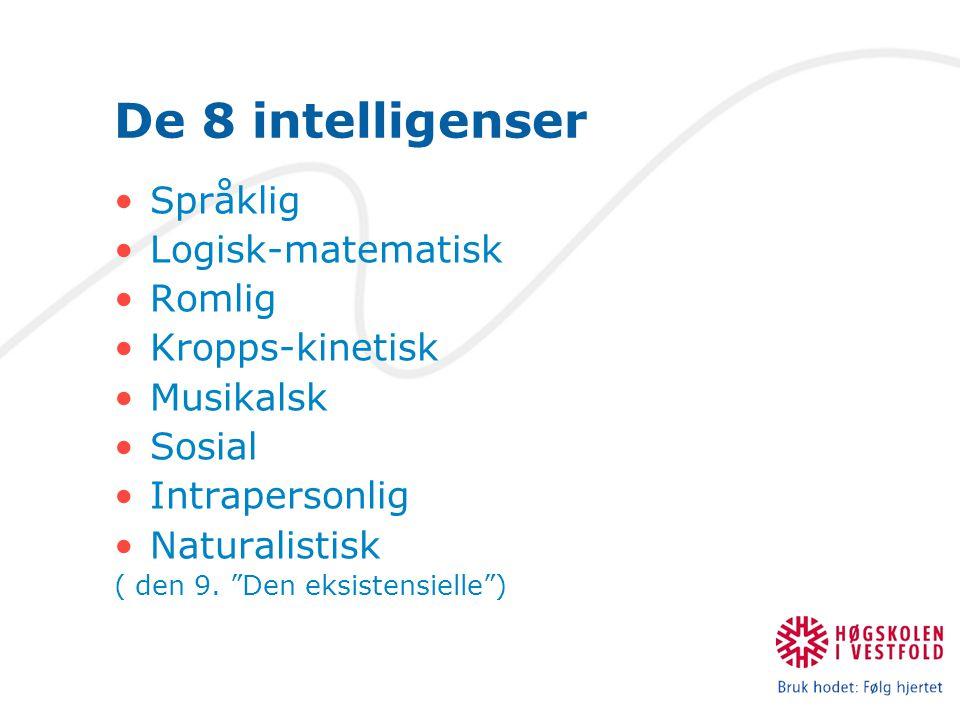 De 8 intelligenser Språklig Logisk-matematisk Romlig Kropps-kinetisk
