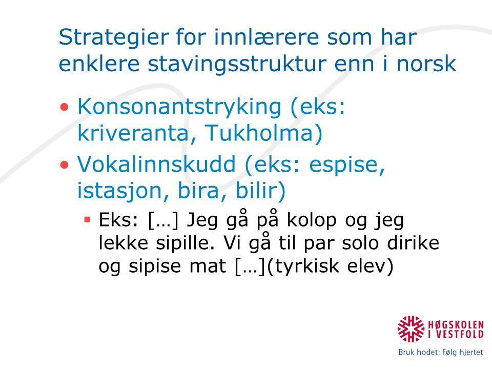 Strategier for innlærere som har enklere stavingsstruktur enn i norsk