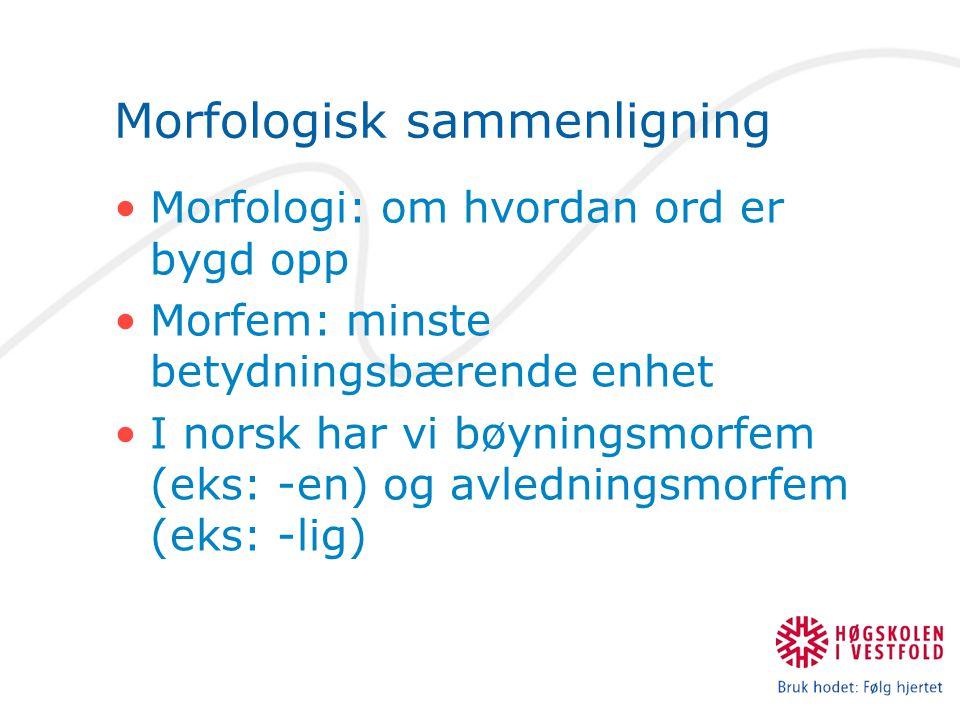 Morfologisk sammenligning