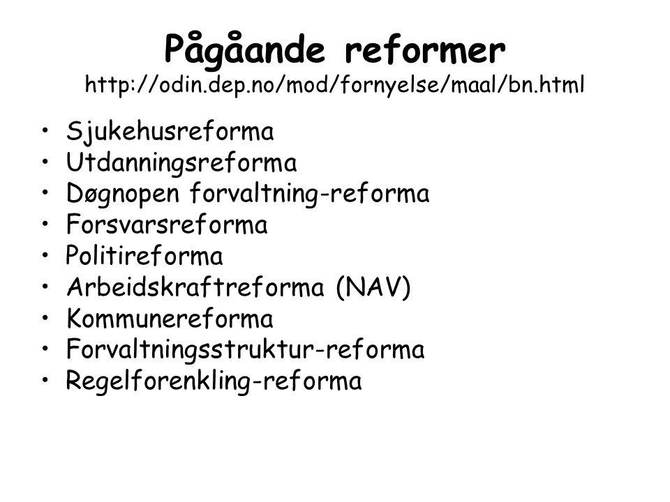 Pågåande reformer http://odin.dep.no/mod/fornyelse/maal/bn.html