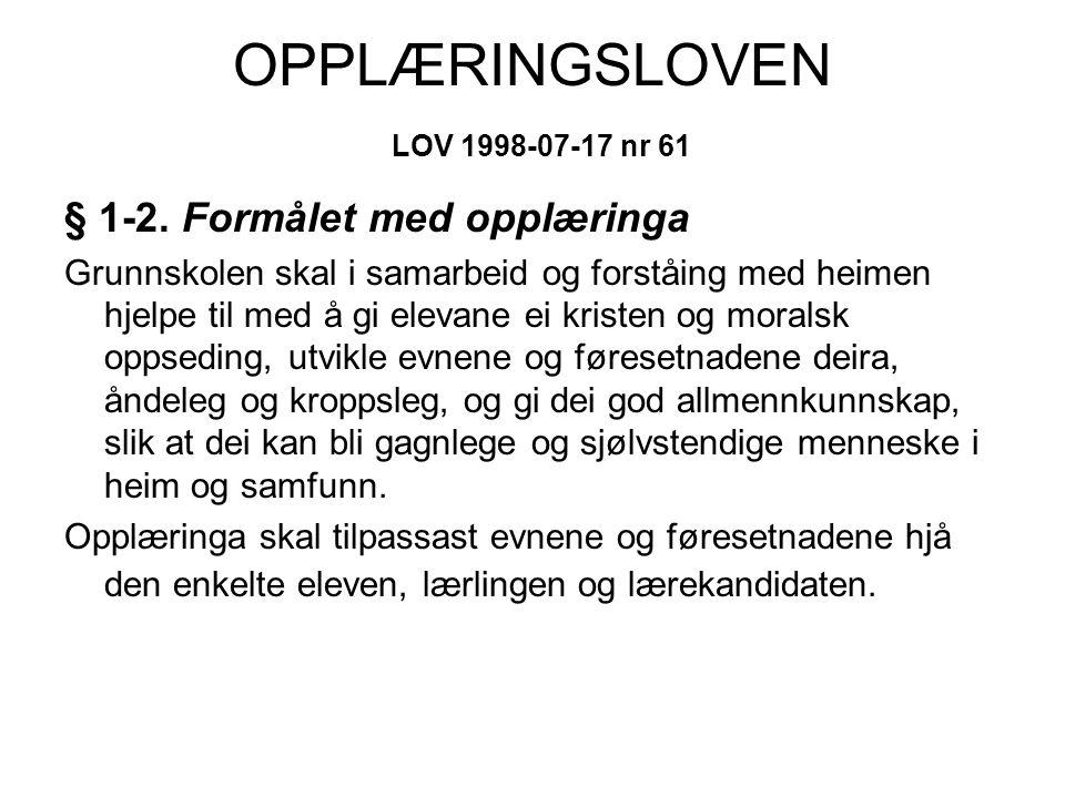 OPPLÆRINGSLOVEN LOV 1998-07-17 nr 61