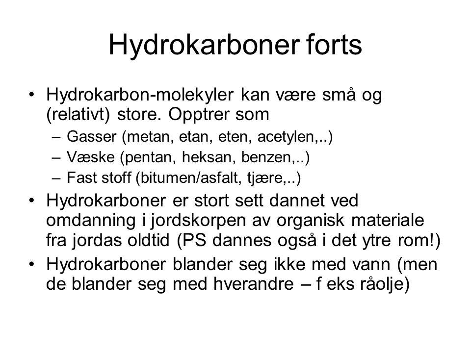 Hydrokarboner forts Hydrokarbon-molekyler kan være små og (relativt) store. Opptrer som. Gasser (metan, etan, eten, acetylen,..)