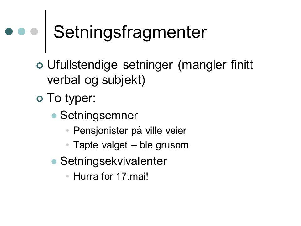 Setningsfragmenter Ufullstendige setninger (mangler finitt verbal og subjekt) To typer: Setningsemner.