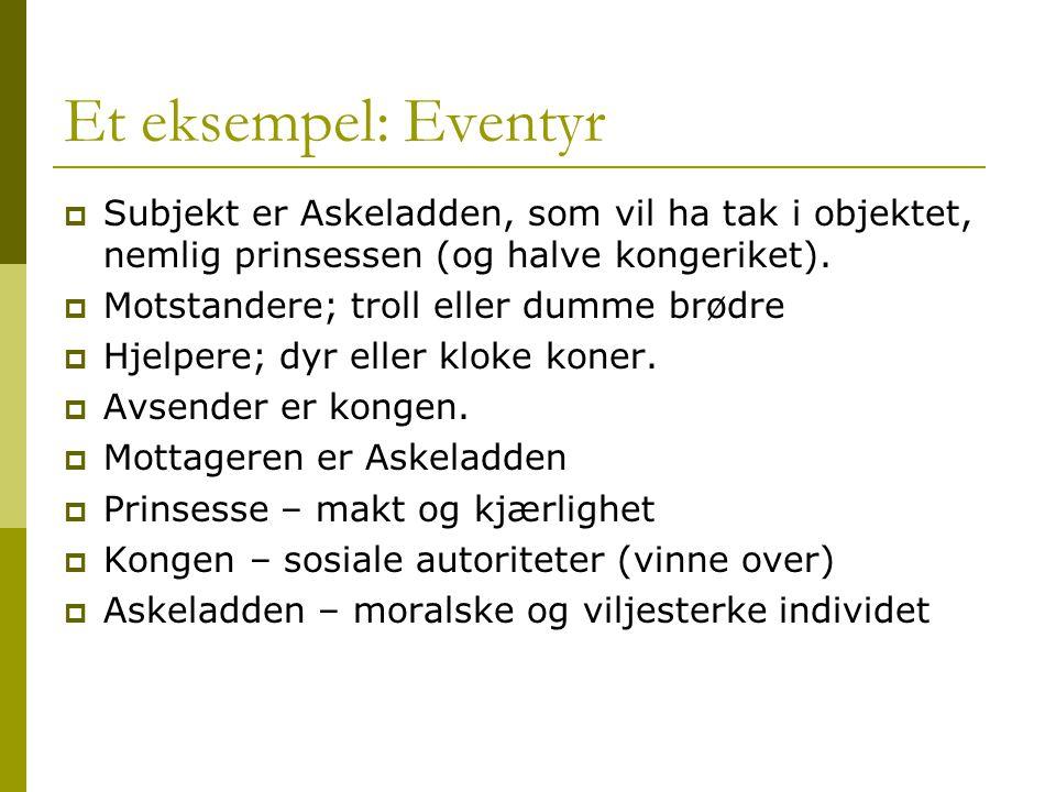 Et eksempel: Eventyr Subjekt er Askeladden, som vil ha tak i objektet, nemlig prinsessen (og halve kongeriket).