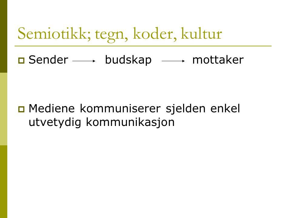 Semiotikk; tegn, koder, kultur