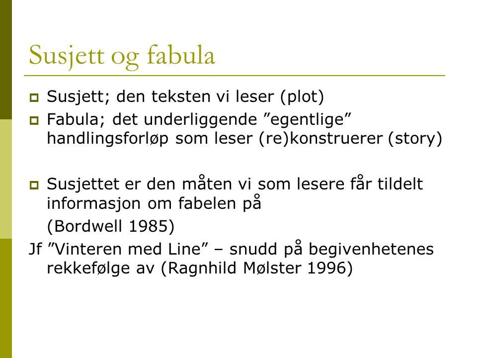 Susjett og fabula Susjett; den teksten vi leser (plot)