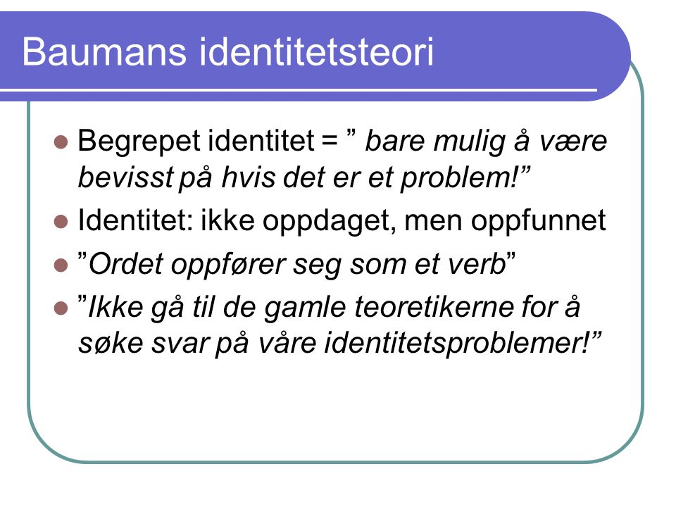 Baumans identitetsteori