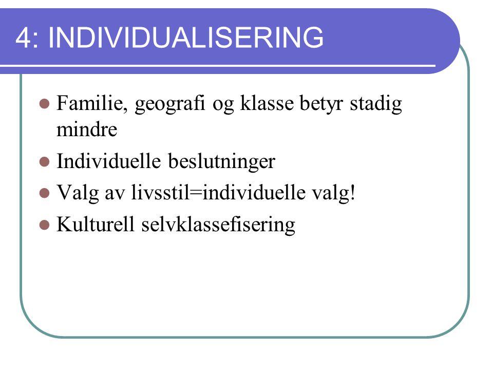 4: INDIVIDUALISERING Familie, geografi og klasse betyr stadig mindre