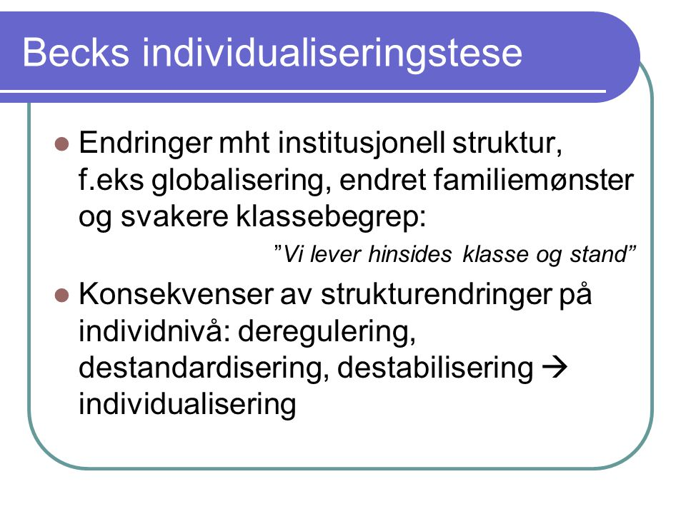 Becks individualiseringstese