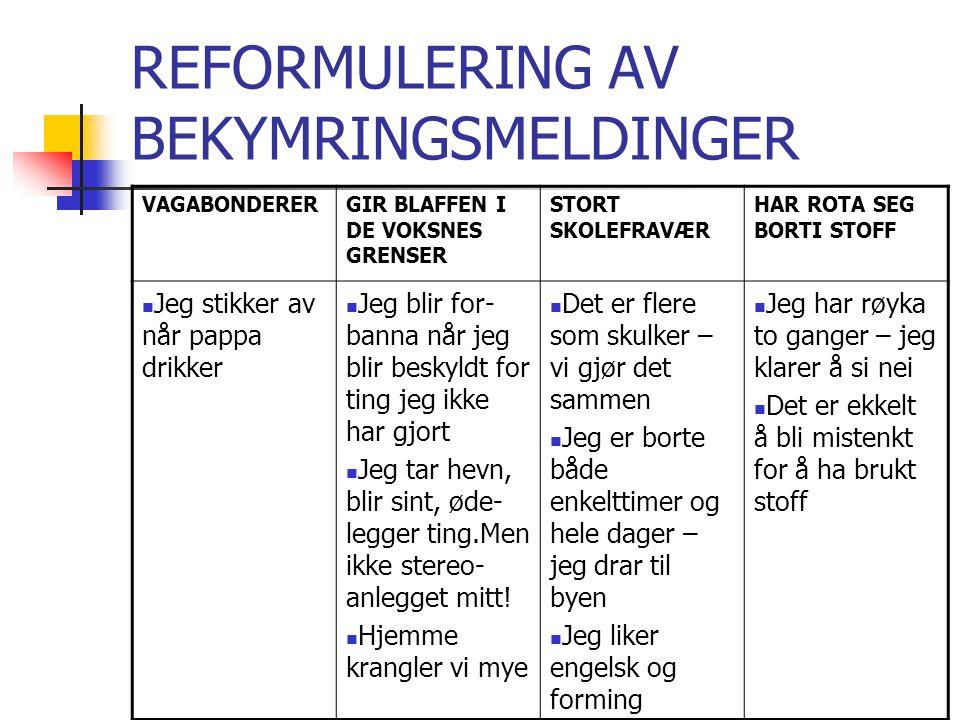 REFORMULERING AV BEKYMRINGSMELDINGER