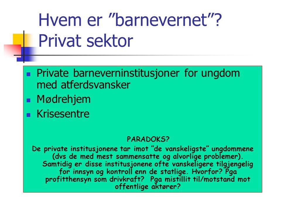 Hvem er barnevernet Privat sektor