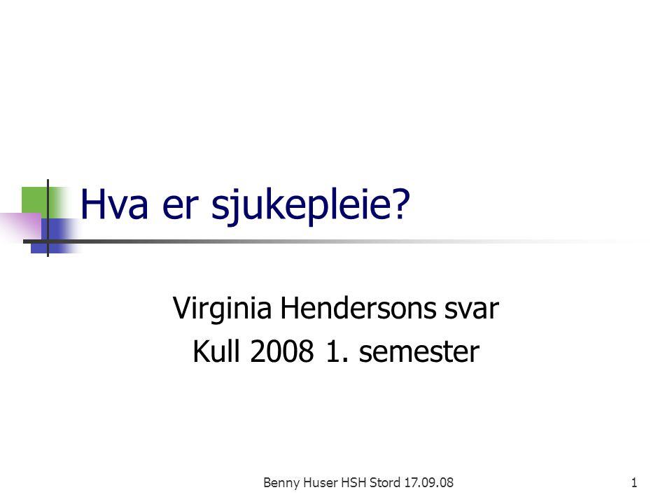 Virginia Hendersons svar Kull 2008 1. semester
