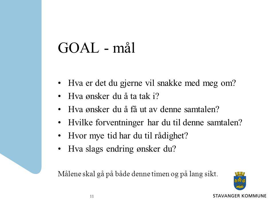 GOAL - mål Hva er det du gjerne vil snakke med meg om