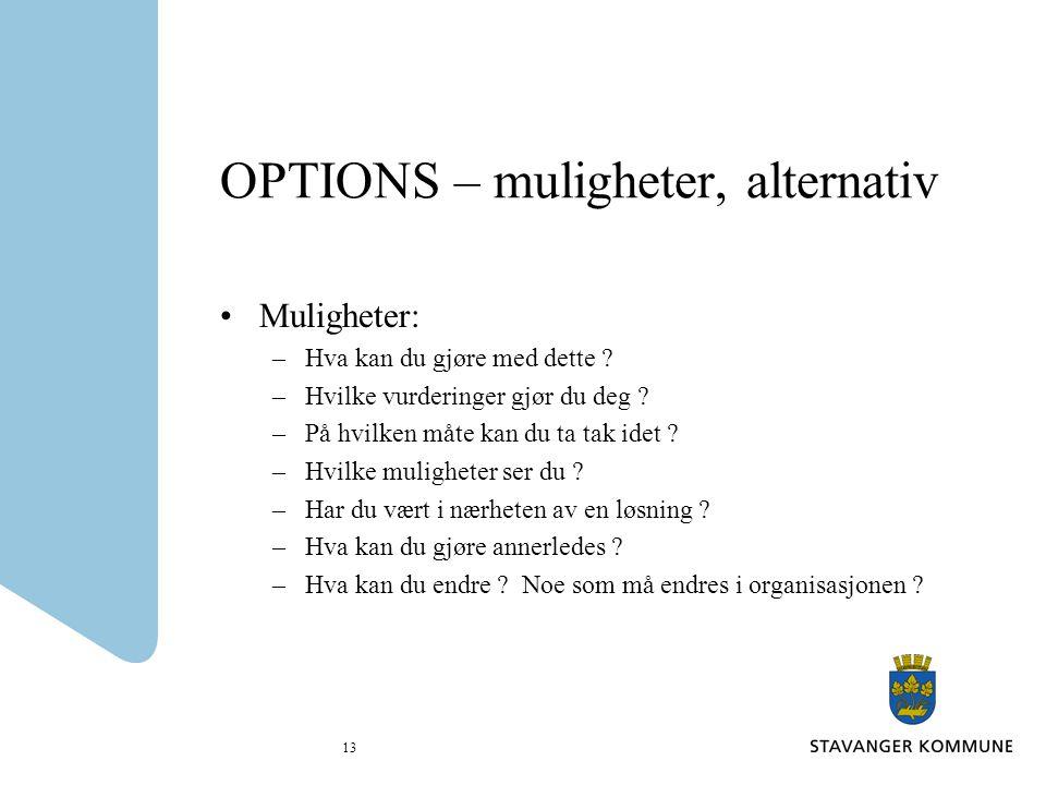 OPTIONS – muligheter, alternativ