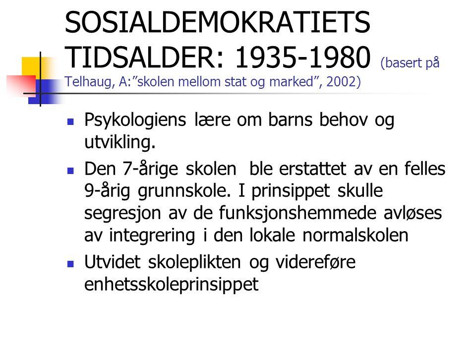 SOSIALDEMOKRATIETS TIDSALDER: 1935-1980 (basert på Telhaug, A: skolen mellom stat og marked , 2002)