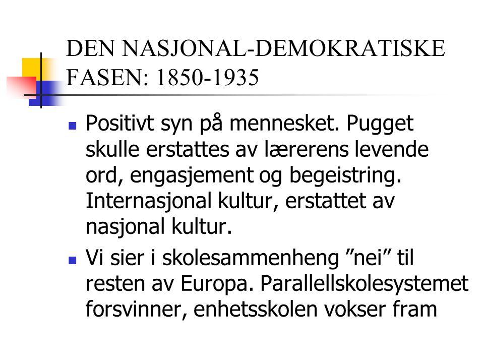 DEN NASJONAL-DEMOKRATISKE FASEN: 1850-1935