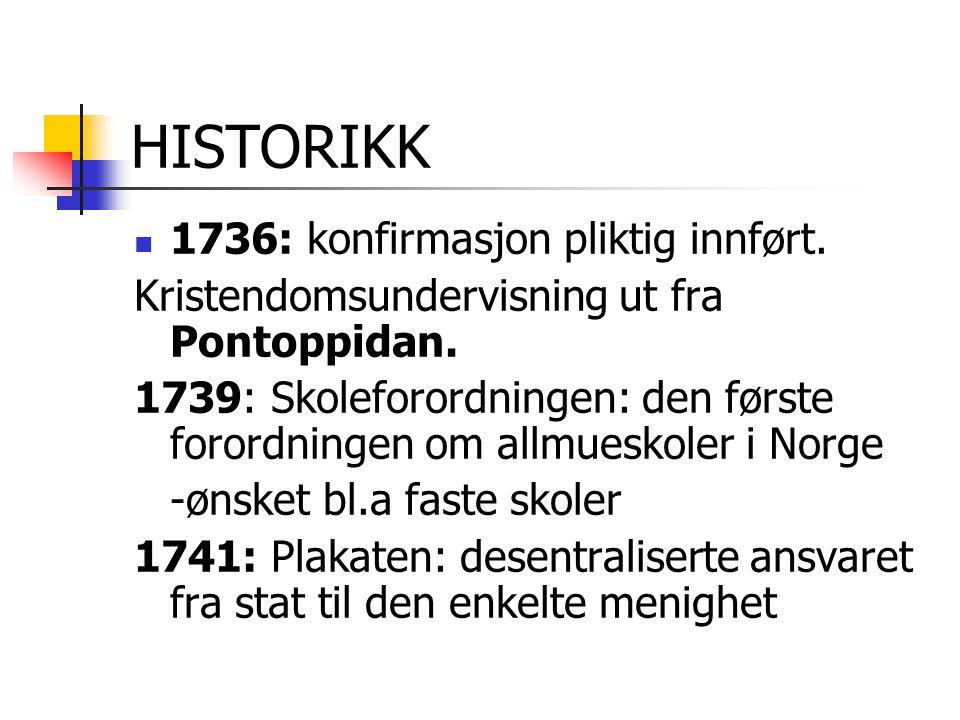 HISTORIKK 1736: konfirmasjon pliktig innført.