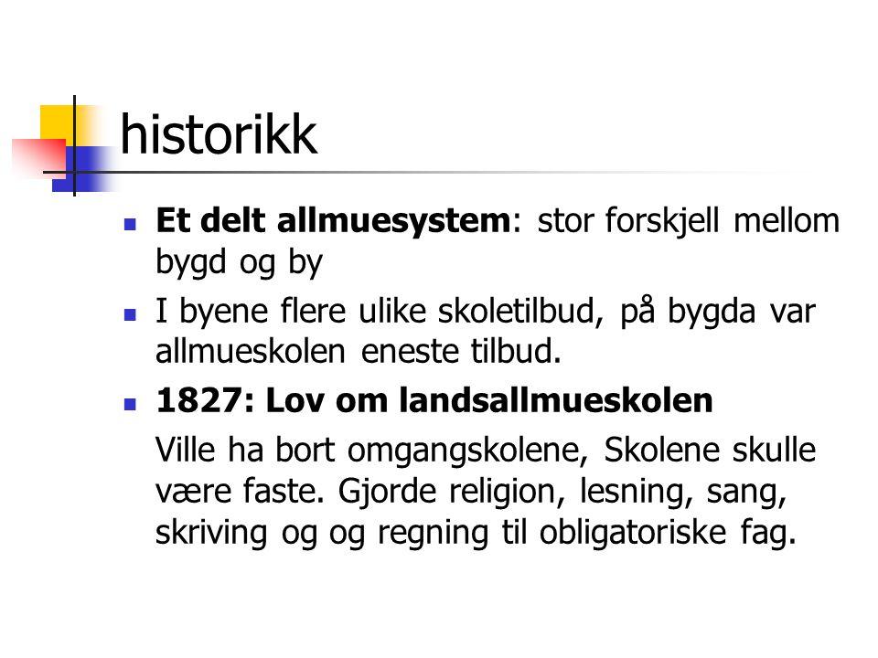 historikk Et delt allmuesystem: stor forskjell mellom bygd og by