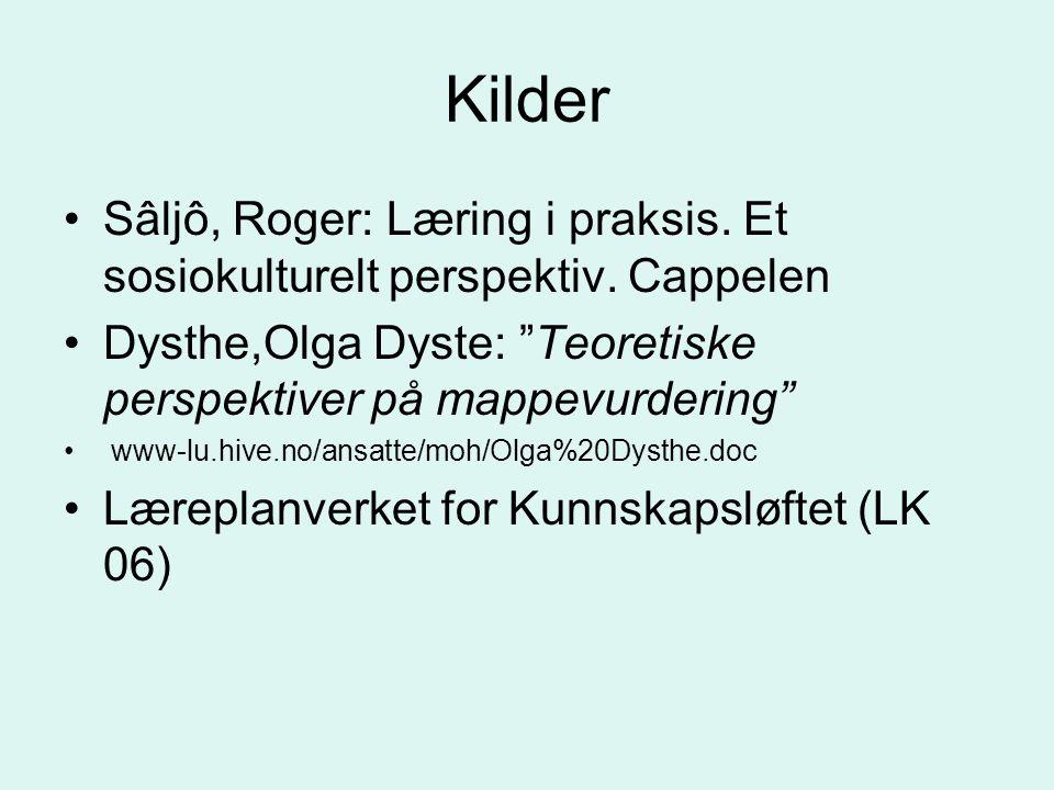 Kilder Sâljô, Roger: Læring i praksis. Et sosiokulturelt perspektiv. Cappelen. Dysthe,Olga Dyste: Teoretiske perspektiver på mappevurdering