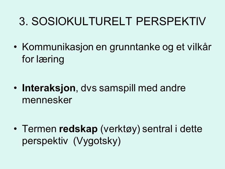 3. SOSIOKULTURELT PERSPEKTIV
