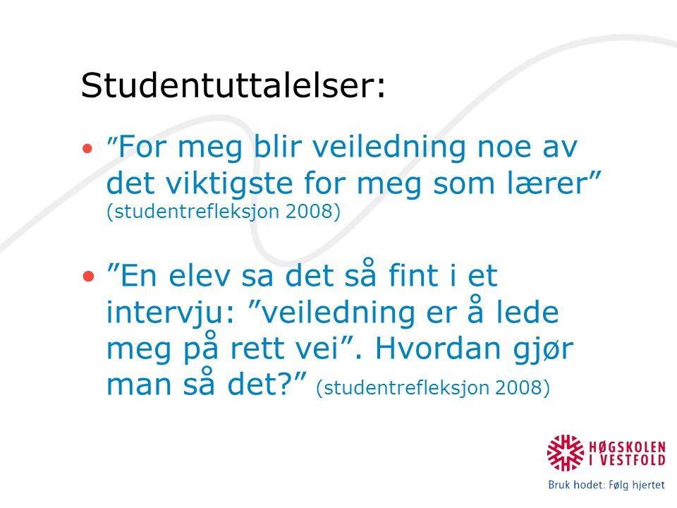 Studentuttalelser: For meg blir veiledning noe av det viktigste for meg som lærer (studentrefleksjon 2008)