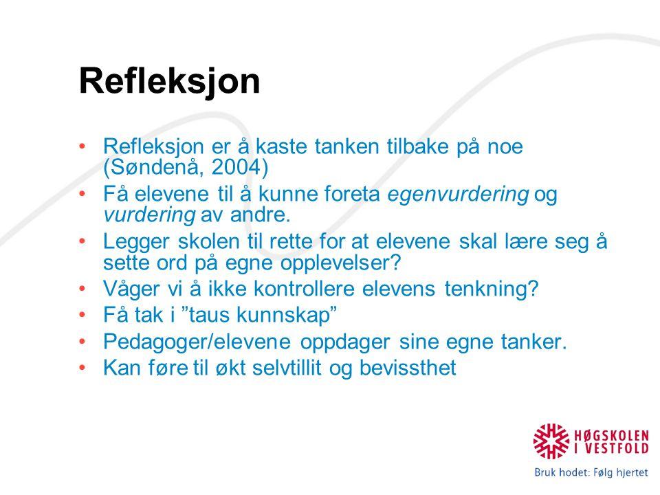 Refleksjon Refleksjon er å kaste tanken tilbake på noe (Søndenå, 2004)