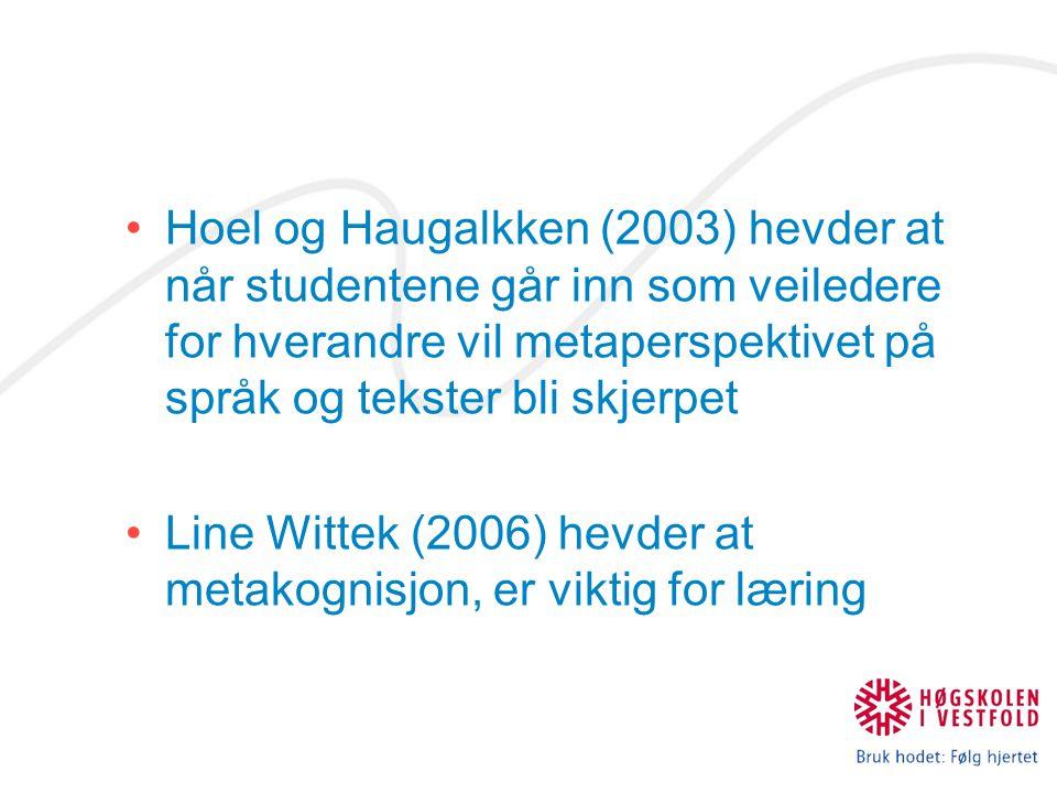 Hoel og Haugalkken (2003) hevder at når studentene går inn som veiledere for hverandre vil metaperspektivet på språk og tekster bli skjerpet