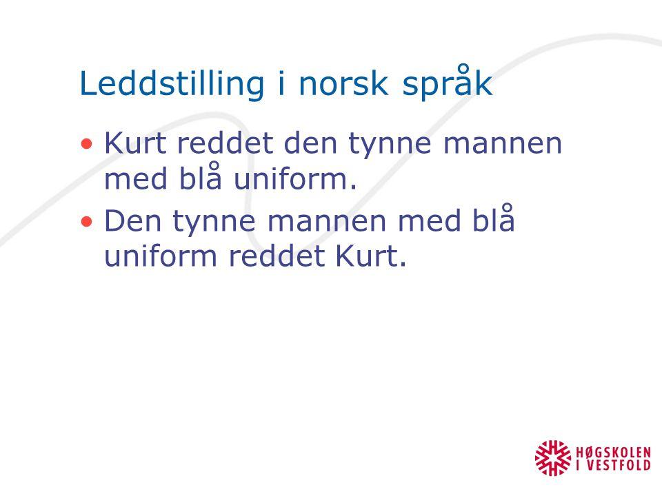 Leddstilling i norsk språk